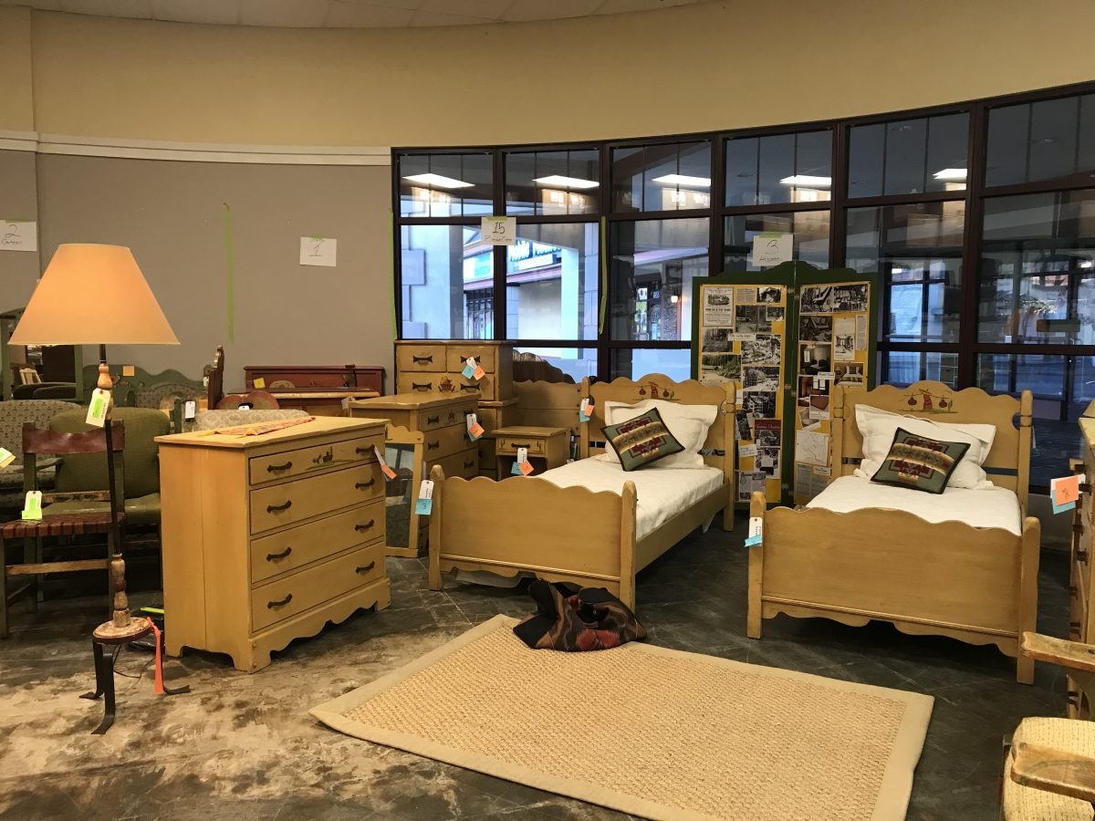 Storage of tagged and restored Monterey furniture in an unused commercial space